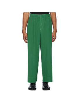 Green Pleated Trousers by Homme PlissÉ Issey Miyake