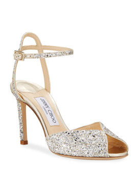 Sacora Shimmery Glitter Cocktail Sandals by Jimmy Choo