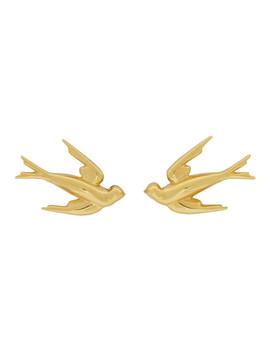 Gold Swallow Stud Earrings by Mcq Alexander Mcqueen