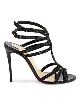 Renee Glitter Leather Sandals by Christian Louboutin