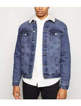 Blue Mid Wash Borg Lined Denim Jacket by New Look