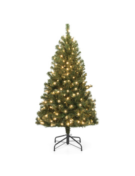 Best Choice Products 4.5ft Pre Lit Spruce Hinged Artificial Christmas Tree W/ 200 Ul Certified Incandescent Warm White Lights, Foldable Stand by Best Choice Products