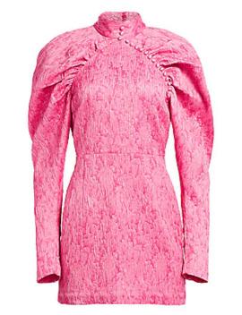 N.1 Jacquard Mini Puff Sleeve Sheath Dress by Rotate Birger Christensen