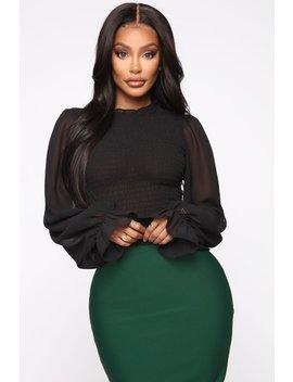 My Dream Job Smocked Blouse   Black by Fashion Nova