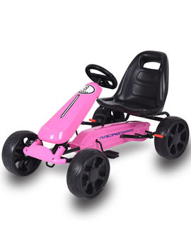 Go Kart Kids Ride On Car Pedal Powered 4 Wheel Racer Stealth Outdoor Toy Pink by Costway