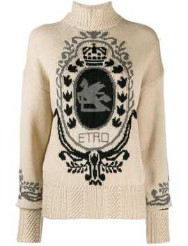 Intarsia Logo Turtleneck Sweater by Etro