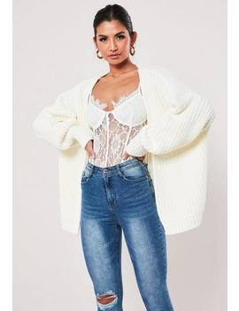 White Knitted Batwing Oversized Cropped Cardigan by Missguided