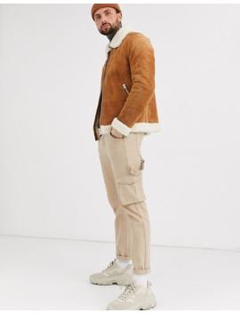 Коричневая замшевая куртка с искусственным мехом Asos Design by Asos Design