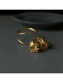Gold Earrings Botanical Earrings Poppy Pod Earrings Nature Cast Jewelry  Dangle Earrings Nature Earrings  Wedding Earrings For Her by Etsy