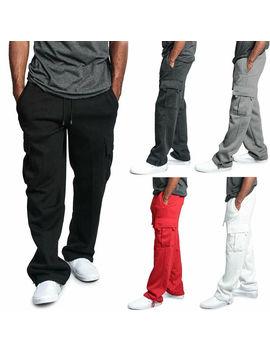 Mens Urban Straight Leg Jogger Heavy Weight Fleece Cargo Pocket Sweat Pants by Meihuida