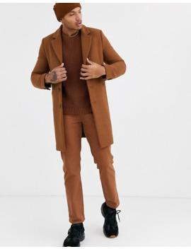 Светло коричневое пальто с добавлением шерсти от комплекта Asos Design by Asos Design