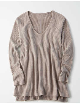Ae Waffle Plush Long Sleeve V Neck T Shirt by American Eagle Outfitters