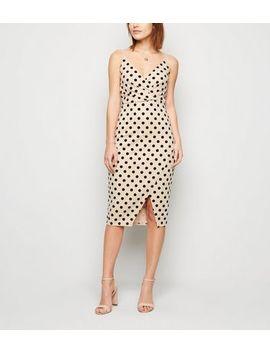 Stone Flocked Spot Wrap Midi Dress by New Look