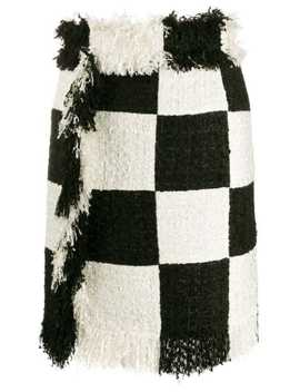 Checked Frayed Skirt by Msgm