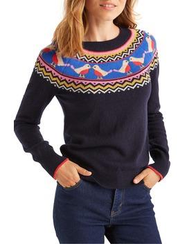 Festive Fair Isle Wool, Cotton & Alpaca Blend Sweater by Boden