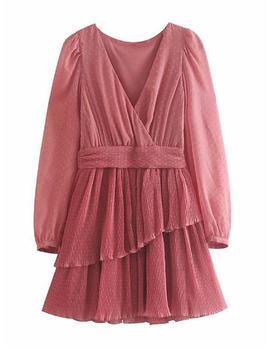 'ottra' Chiffon Pleated Mini Dress by Goodnight Macaroon