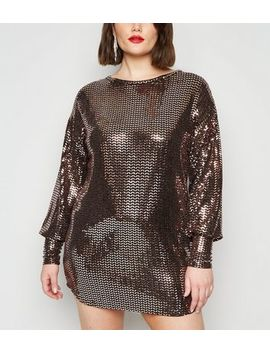 Just Curvy Rose Gold Sequin Balloon Sleeve Dress by New Look