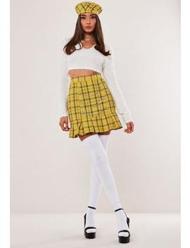 Hayden Williams X Missguided Yellow Check Pleat Hem Chain Mini Skirt by Missguided