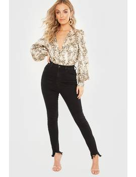 Meggan Grubb Washed Black Distressed Hem High Waisted Jeans by In The Style