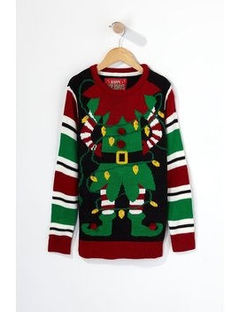 Youth Elf Light Up Ugly Christmas Sweater by Urban Planet