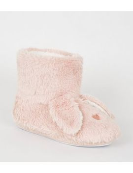 Pink Faux Fur Bunny Ear Boot Slippers by New Look