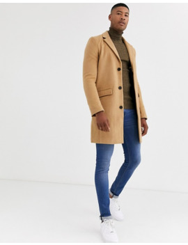 Another Influence Wool Over Coat In Tan by Asos