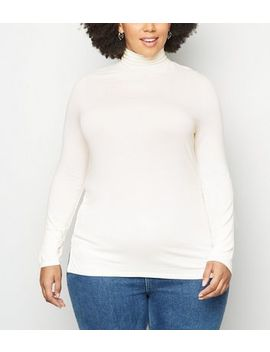 Curves Off White Side Split Roll Neck Top by New Look