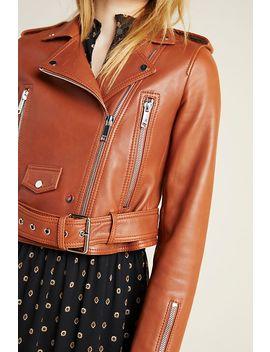 Mya Cropped Leather Moto Jacket by Lth Jkt