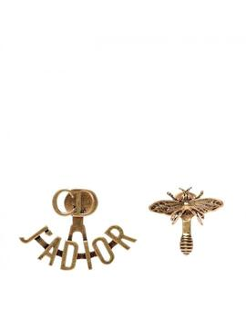 J'adior Aged Gold Metal Bee Cd Earrings by Dior