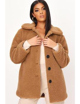 Taupe Long Button Front Borg Coat by I Saw It First