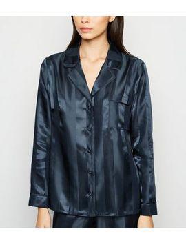 Navy Stripe Satin Revere Collar Pyjama Shirt by New Look