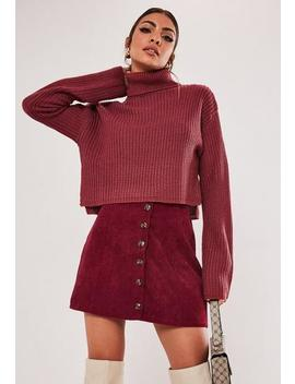 Petite Red Cord Button A Line Skirt by Missguided