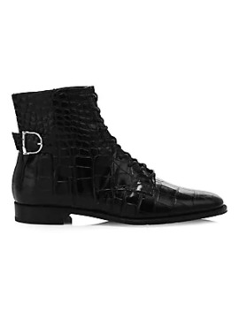 Croco Embossed Leather Ankle Boots by Tod's