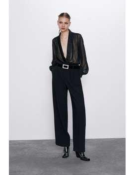 Contrast Semi Sheer Bodysuit by Zara