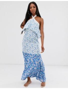 Asos Design High Neck Tiered Maxi Beach Dress In Mixed Paisley Print by Asos Design