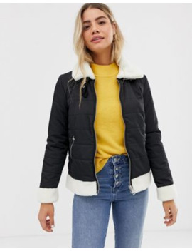 Urban Bliss Gracie Padded Jacket With Shearling Trim by Urban Bliss'