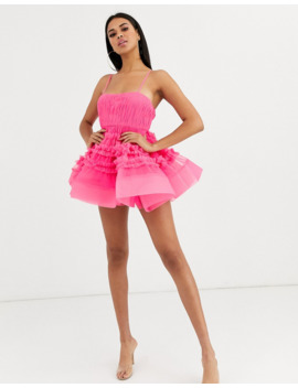 Lace &Amp; Beads Structured Tulle Mini Dress With Built In Bodysuit In Bright Fuchsia by Lace & Beads
