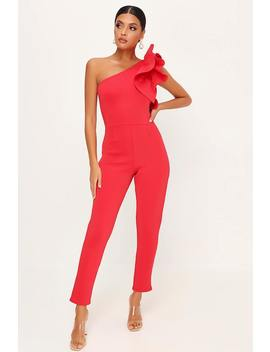 Red Frill Shoulder Jumpsuit by I Saw It First