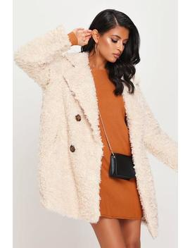 Cream Button Front Teddy Borg Coat by I Saw It First