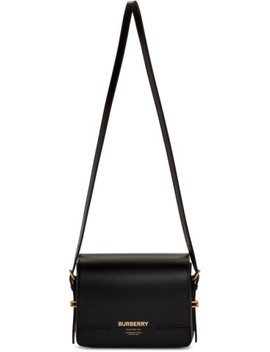 Black Leather Small Grace Bag by Burberry