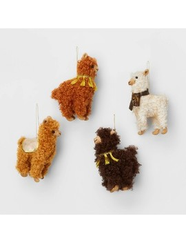 4ct Fuzzy Llama Christmas Ornaments   Wondershop™ by Wondershop