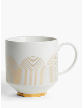 John Lewis & Partners Fine China Mug, 400ml, Gold/White by John Lewis & Partners