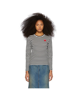 Black & White Striped Heart Patch Long Sleeve T Shirt by Comme Des GarÇons Play