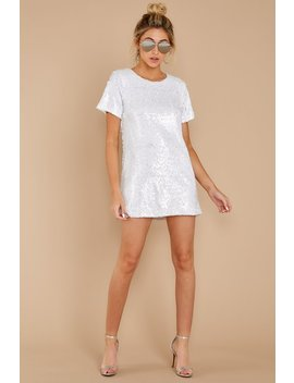 Cue The Lights White Sequin Dress by Olivaceous