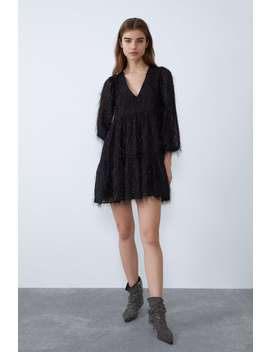 Fringed Dress With Metallic Thread by Zara
