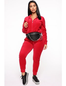 The Original Trendsetter Velour Set   Red by Fashion Nova