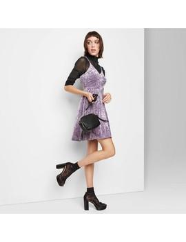 Women's Sleeveless V Neck Velvet Skater Mini Dress   Wild Fable™ by Wild Fable