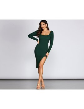 Here's The Scoop Front Slit Midi Dress by Windsor