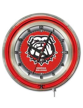 "Georgia ""Bulldog"" Double Neon Ring, 19"" Logo Clock by Holland Bar Stool Company"