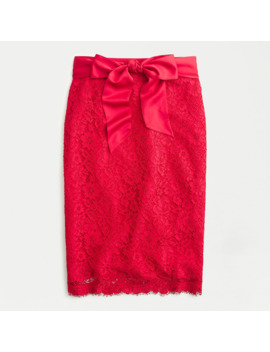 Petite Satin Bow Lace Skirt by J.Crew